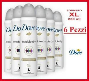 6 PEZZI Dove deodorante spray INVISIBLE DRY 250 ML intimo donna uomo invisibile