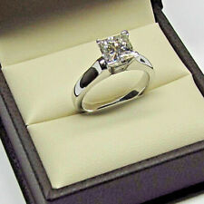 Certified 2.00 Ct Princess Women's Solitaire Engagement Ring 14k White Gold Fn