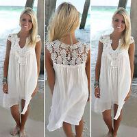 Womens Short Mini Dress Summer Long Tops Blouse Beach Party Cocktail Sundress