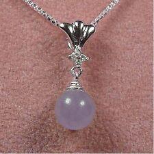 Sterling Silver - Lavender Jade Bead Necklace (NL327)