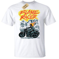 Flame Racer T-Shirt Mens biker skull motorcycle motorbike top white