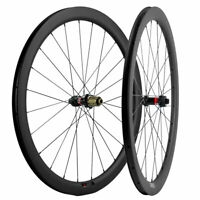 700C 45mm 25mm Road Bike Disc Brake Carbon Wheelset Novatec 411-412 Thru Axle