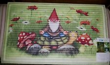 HEAVY Door Mat w/Gnome & Mushrooms~BOLD VIVID COLORS~NEW w/TAGS~Won't Blow Away