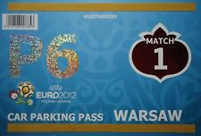 TICKET Car Parking pass UEFA EURO 2012 Polonia-Grecia match 1