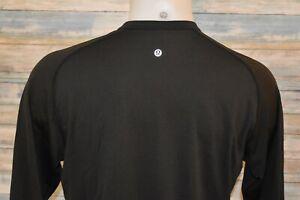 LULULEMON XL Men's L/S Nylon Spandex Henley Shirt Black