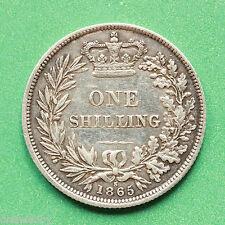 1865 Queen Victoria Silver Shilling Die 3 SNo40613