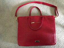 Authentic Red Leather Badgley Mischka Briefcase/Computer Hand and Shoulder Bag