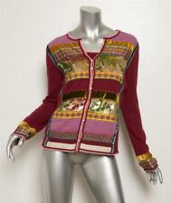 CHRISTIAN DIOR Deep Red Wool Multi Patchwork Sweater Top Cami Cardigan Twinset S
