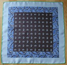 Blue & brown Paisley Silk pocket square Hand rolled 45cm Made in England