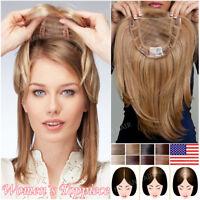 Big Sale 100% Remy Human Hair Piece Women Topper Top Pieces Wig Toupee Weaves US