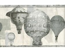 HOT AIR BALLOON BLACK & WHITE GRAY WALLPAPER BORDER French Vintage Wall Decor