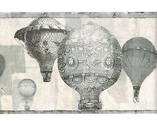 HOT AIR BALLOON BLACK & WHITE GRAY WALLPAPER BORDER French Vintage Wall Decor
