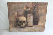 Tableau HST nature morte tête de mort et grès 46 cm x 38 cm