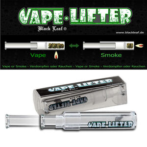 VAPE LIFTER Vaporizer BLACK LEAF Glas Verdampfer Tabak Pfeife Länge 9 - 15cm NEU