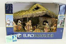 "Vintage Euromachi 8 Pc Nativity Set w/Manger 16"" Long x 11"" High"