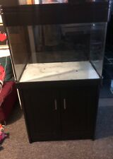 More details for fish tank aquarium curved glass corners on solid wood cabinet cash and collect