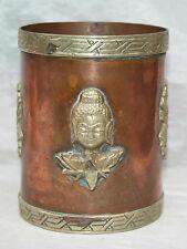 Antique Tibetan Chinese Copper Pot Embossed Brass Buddha Silver Bird Signed