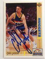 Chris Jackson 1991 Upper Deck Hand Signed Card Denver Nuggets