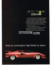 1982 Alpine Car Stereo Cassette Player Red Lamborghini High FidelityVtg Print Ad