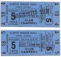 Glen Campbell Concert Ticket Set of 2 1972 Tampa Blue Obstructed