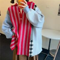 patchwork plaid knit oversized jumper striped button cardigan shacket *one size*