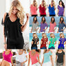 Women Cold Shoulder T Shirts Beach Tops Short Sleeve Summer Casual Tee Blouse