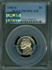1985-S JEFFERSON NICKEL PCGS PR70 ULTRA HEAVY CAM MAC FINEST GRADE MAC SPOTLESS.