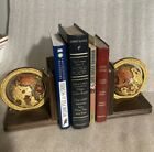 Vintage OLD WORLD Rotating Wooden Globe BOOKENDS They Both Spin sea Monster