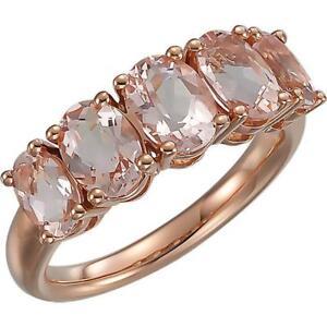 14k Rose Gold Morganite Five Stone Ring Size 7
