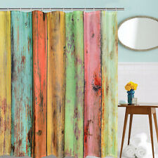 Waterproof Shower Curtain Art Wood Colorful Print Bathroom Decor Shower Curtain