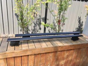 2x BLACK Roof rack / cross bar for Toyota Fortuner 2016 - 2021goes on flush rail