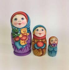Matryoshka Russian Wooden Nesting Dolls - 3 Pieces Unique Coloring Set #3