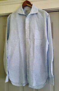 Ben Silver Charleston Bespoke LInen Shirt Light Blue - Size 17 36