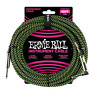 Ernie Ball 10' Braided Straight / Angle Instrument Cable - Black / Green P06077
