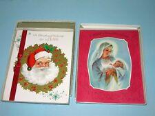 "2 Vtg 60's 9.5"" Christmas Card in Original Box Santa real feather & jingle bell"