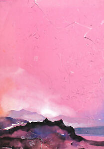 1996 Modernist landscape gouache painted print signed