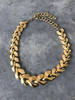 Vintage 1960s 60s Gold Tone Brushed Chain Link Collar Necklace
