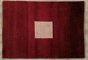 55 x 80 inch Handmade 5 x 7 ft Contemporary Rug Burgundy Red White Snowflakes