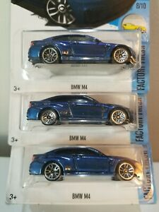 Lot Of 3 2017 Hot Wheels BMW M4 w/ Rare Lace Wheel Variation And Other Errors!