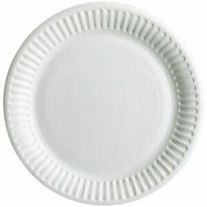 100 x White Paper Plates Card Board Party Plates Disposable Buffet Choose Size