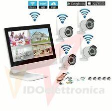 KIT VIDEOSORVEGLIANZA WIRELESS NVR 4 CANALI 4 TELECAMERA IP WIFI+NVR+ MONITOR 10
