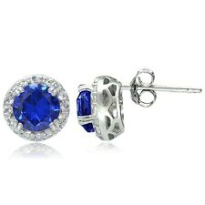 Sterling Silver 3.1ct Created Blue Sapphire & White Topaz Halo Stud Earrings