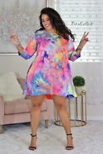 USA New PLUS SIZE Womens BRIGHT TIE DYE DYED TUNIC 3/4 DRESS POCKETS 1X 2X 3X