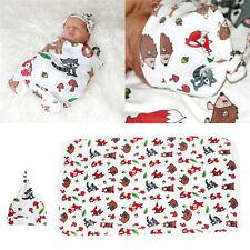 US Seller Newborn Baby Swaddle Blanket Baby Sleeping Swaddle Muslin Wrap And Hat