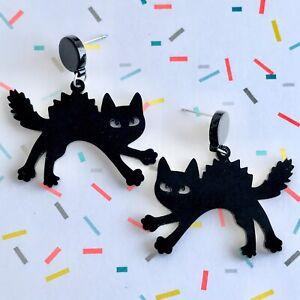 Cute Black Scaredy Cat Kitten Fun Dangle Earrings/ Festival /Goth Emo Halloween