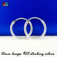 Solid 925 Sterling Silver 12mm Small Tiny Hinged Hoop Sleeper Earrings Ring Pair