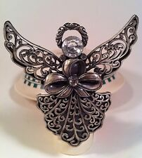 Decorative Guardian Angel Night Light, Pewter with Bow & Clear Jewels