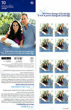 Canada 2013 MNH Royal Baby Prince George 10v S/A Booklet William Kate Middleton