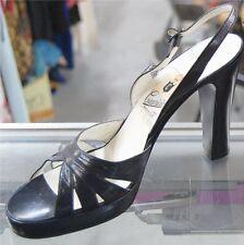 50s 60s Navy Slingback Open Toe Platform 40s Style Heels sz 40 by Capricio Italy