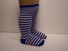 Blue & White Tall Stripe Knee Socks For Chatty Cathy Debs